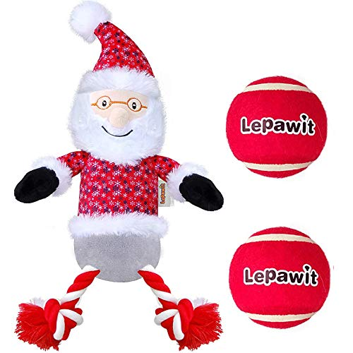 Lepawit 3pcs Christmas Dog Plush Toy (13inch Santa Claus+2 Balls) Squeaky Toy with Rope for Dogs Stuffed Dog Chew Toy for Medium, Large Dogs Interactive Indoor Outdoor Dog Toys