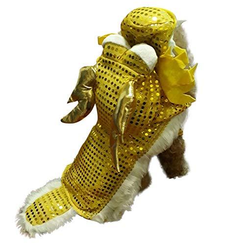 PanDaDa Hund Cosplay Kostüm Drachentanz Kleidung für Neujahr - Chinesischen Stil Drachentanz Hundekostüm Gelber Drache Cosplay Hundekleidung