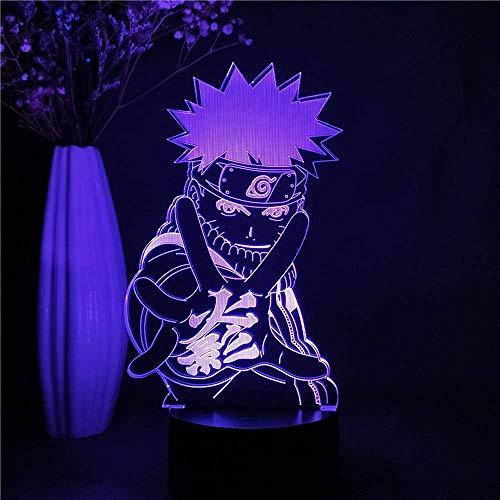 LLLKKK Luz nocturna 3D Estéreo Anime Naruto 3D LED Luz nocturna Uzumaki Naruto Figura nocturna infantil regalo decoración manga lámpara de mesa colorida noche escritorio regalo