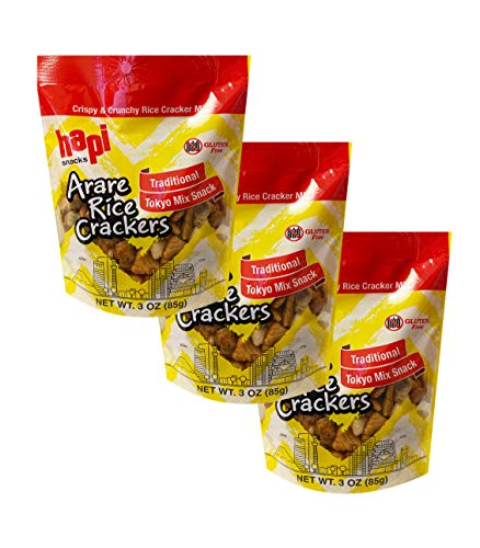 Hapi New Gluten Free Crispy & Crunchy Rice Cracker Mix 3oz, 3 Pack (Tokyo Mix)