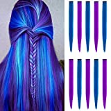 10 PCS Colored Hair Extensions, LADYAMZ Multi-color Party Highlights Clip in Synthetic Hair Extensions, Colorful Hair Accessories for Girls Women Kids Straight Hair Pieces 22 inch(Purple+Blue)