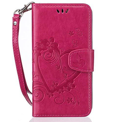 pinlu® Funda para Huawei Y635 (5pulgada) Smartphone Flip Billetera Carcasa Delgado PU Cuero Cover Función de Soporte con Ranura Case Amor Corazón Gofrado Rosa roja