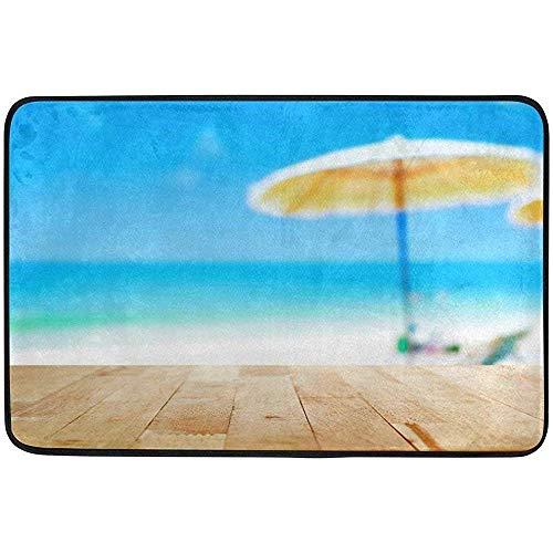 Fußmatte für den Außenbereich, Fußmatte, Sommer, Ozean, Holz, Sonnenschirm, blaues Meer, weißer Sandstrand, Fußmatte, rutschfest, 60 x 40 cm, Zwischenschicht, Polyester, maschinenwaschbar, Polyester F