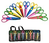 ANNOVA 8 PCS DIY Art & Craft Scissors with a Carrying Bag/Pocket Decorative Edge for Kids Fun Scrapbooking Pattern...