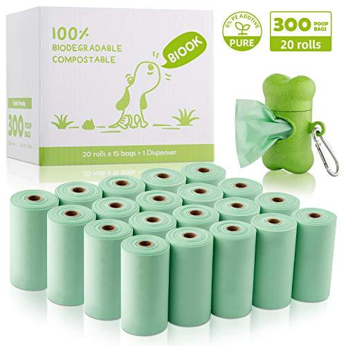 BIOOK Bolsas Caca Perro 100{e7645c58697b478ae8cc56f4fe290fe3d82ef73864eec51507e87c428a14837e} Biodegradable con 1 Dispensador, Materiales Basados en PLA y Compostables Premium Ecológico, Fuertes, Resistente a Fugas, Sin Perfume, EN13432 y Ok Compost Certificación