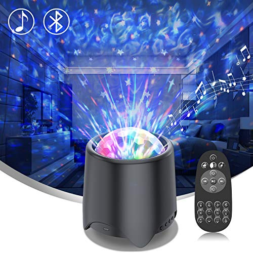 White Noise Machine & Night Light for Kids-LED Galaxy Projector with 16 Music/Sounds,Bluetooth Speaker,Moving Ocean Wave- 4 in 1 Sleep Sound Machine for Nursery/ Yoga/Sleeping/Party (Black)