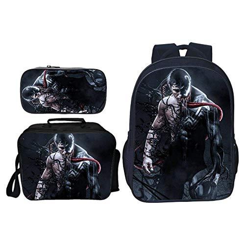 Kinderrugzak driedelig pak 3D bedrukte rugzak Marvel Venom rugzak kinderrugzak schoolrugzak schoolrugzak