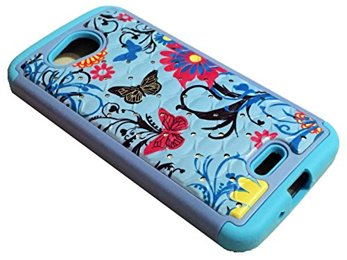 for Kyocera Hydro Air C6745 Hybrid Sparkle Bling Protector Phone Cover Case + Happy Face Phone Dust Plug (Hybrid Sparkle Bling Blue Butterfly)