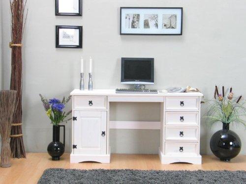 Schreibtisch New Mexiko 5+1 Arbeitstisch PC Computer Büro Tisch weiß gewachst