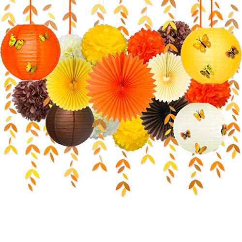 Fall Party Decorations Kit Yellow Orange Brown Paper Hanging Fans Lanterns Flowers Pom Pom with 3D Butterfly Autumn Leaves Garland for Wedding Bridal Shower Birthday Halloween Thanksgiving Party Décor