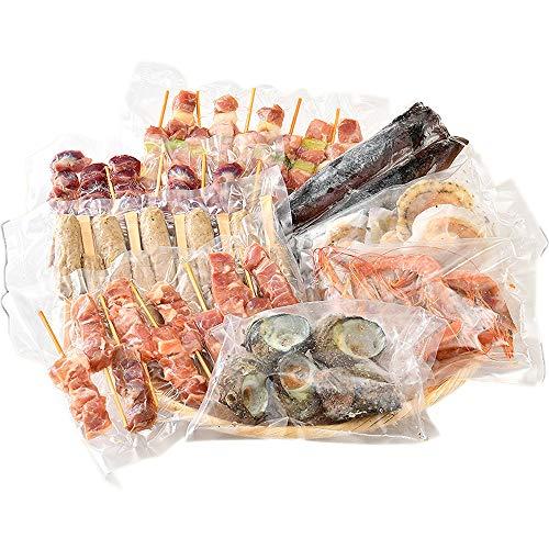 港ダイニングしおそう お中元 ギフト バーベキューセット 8種 盛り合わせ ( サザエ / スルメイカ / ホタテ / 赤海老 / 鶏もも / ねぎま / 砂肝 / つくね ) BBQ バーベキュー 海鮮バーベキューセット 海鮮 焼き鳥 貝 海老 するめいか 冷凍 冷凍食品 ご家庭用