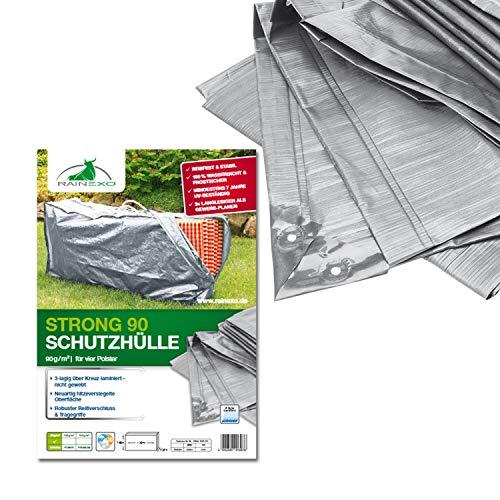 Bio Green Rain Exo RX90-4HA SG Housse Ultra-résistante pour 4 Matelas de Chaise Longue Argenté/Gris 1,30 x 0,35 x 0,60 m