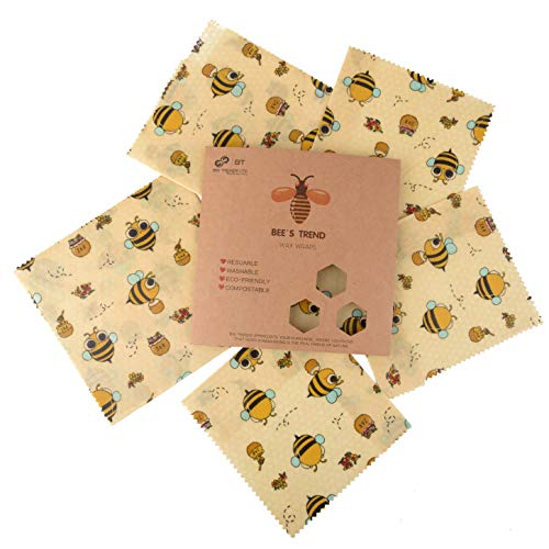BEE'S TREND Bee Wraps Envoltorios de Cera De Abejas Reutilizables - 100% Algodón, Cera, Resina Árbol Y Aceite Jojoba - Seguro, Lavable - Almacena Comida, Fruta, Verduras - Juego 6