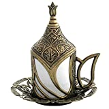 Mandalina Magic Turkish Coffee Cup Tulip Design - Espresso Demitasse Cup with Saucer and Lid