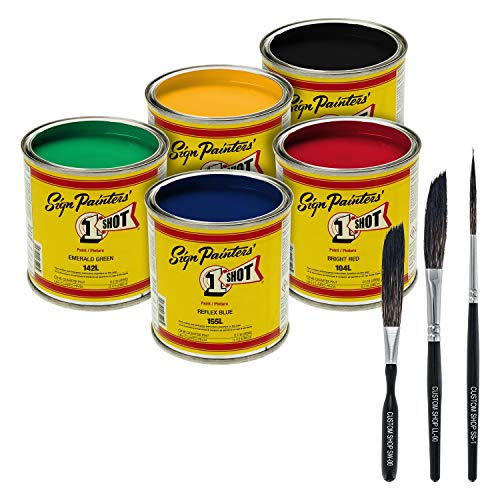One-Shot 5-Color Lettering and Pinstripe Paint 1/4 Pint Cans with Bonus Striping Brush Kit Colors: Bright Red, Lemon Yellow, Emerald Green, Reflex Blue and Black
