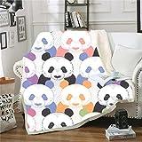 Manta Polar Felpa de Sofá Panda Animal de Dibujos Animados Amarillo Negro Blanco Mantas de Lana para sofá/Cama Manta de Felpa para Todas Las Estaciones para Adultos y niños 70 cm x 100 cm