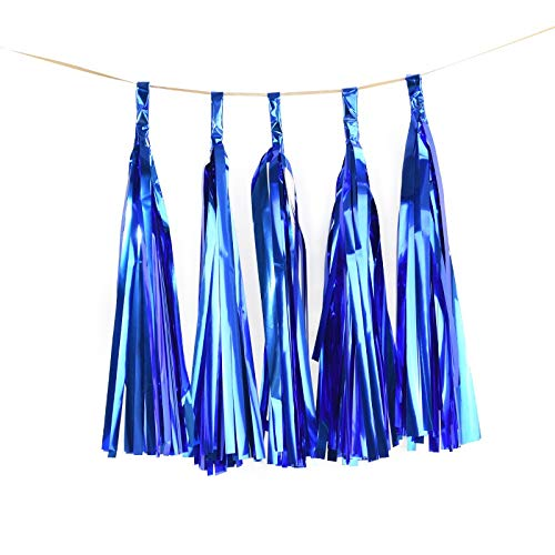 JINSUO 1Set Mixed DIY Tissue Paper Tassel Garland for Wedding Kids Unicorn Birthday Party Decorations Baby Shower Favors Supplies (Color : 5pcs Shiny Blue)