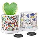 Ceramic Planters 2 Pack 5 inch Succulents Plant Pots for Snake Plants Aloe Cactus Cylinder Ceramic Flower Planter Pots Indoor Planters, Creative Cute Fish and Seagrass Printed Pattern