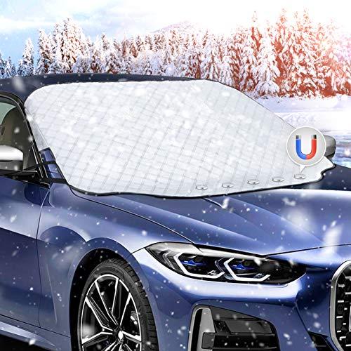 Favoto Auto Sonnenschutz Frontscheibe Windschutzscheiben Abdeckung Magnetische Faltbare Autoscheibenabdeckung Eisschutz Frontscheibenabdeckung UV-Schutz für Sommer Staub Schnee 157x126 cm