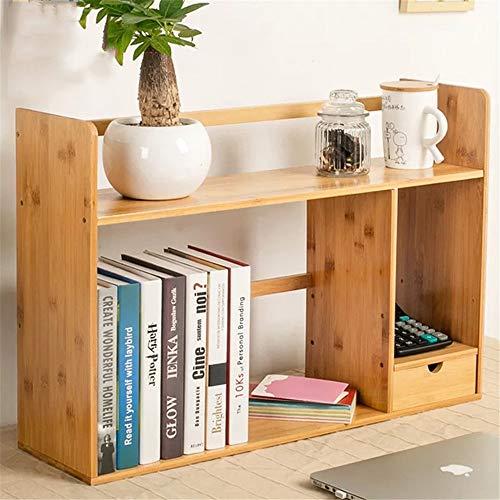 Yinglihua Boekenkast, uitbreidbaar boekenkastje met 2 laden en verstelbare boekenkaststandaard, stand-up boekenkast