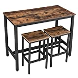 VASAGLE Lot Table et Chaises de Bar, Table Haute avec 2 Tabourets de Style Industriel, pour Cuisine, Salle à Manger, Salon, Marron Rustique et Noir LBT15X