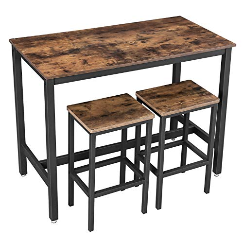 VASAGLE Bar Table Set, Bar Table with 2 Bar Stools, Breakfast Bar Table and Stools Set, Kitchen Counter with Bar Chairs, for Kitchen, Living Room, Party Room, Industrial, Rustic Brown LBT15X