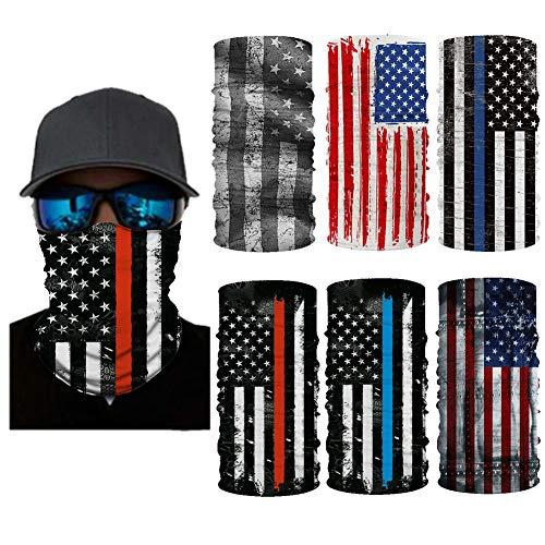 6 Pcs USA Flag Face Masks Headwear, Unisex Face Cover Shield Bandanas Balaclavas