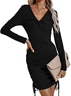 Greetuny Women Bodycon Dress Sexy V-Neck Slim Fit Long Sleeve Dress Side Drawstring Stretchy Ruched Dress