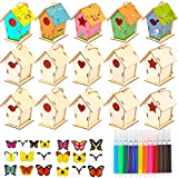 unfinished bird house - 70 Pieces Wooden DIY Doodle Bird House Set Include 15 Pieces Unfinished Wood Mini Bird House to Paint and 36 Pieces Watercolor Paint Pen and 19 Pieces 3D Butterfly Wall Sticker Decals for Kids Adults