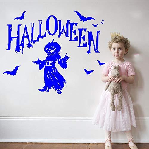 hetingyue Halloween partij pompoen vleermuis vliegen met mensen silhouet muur sticker slaapkamer home art decoratie halloween