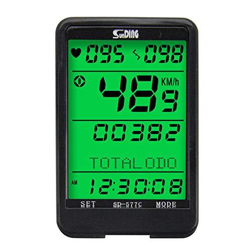 Wan&ya Bicicleta GPS Odómetro para computadora Inalámbrico Impermeable Velocímetro para computadora con Monitor de frecuencia cardíaca Control con Cable Retroiluminación LCD Temporizador de Bicicleta