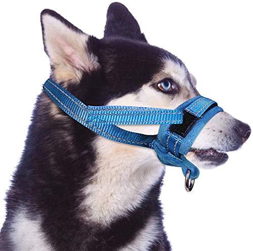 AutoWT Bozales de perro de nylon, lazo ajustable, suave flannelPadding, cómodo transpirable seguro rápido ajuste Muzzles para pequeño mediano perro grande, evitar morder, masticar y ladrar, permite beber y jadeo, utilizado con el collar (M, Azul)