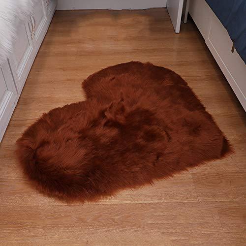 ZXXY Alfombra de Piel Artificial, Alfombra de Alfombra esponjosa en Forma de corazón en la Alfombra de Piel Artificial de la Oficina del Dormitorio en casa - Color de café