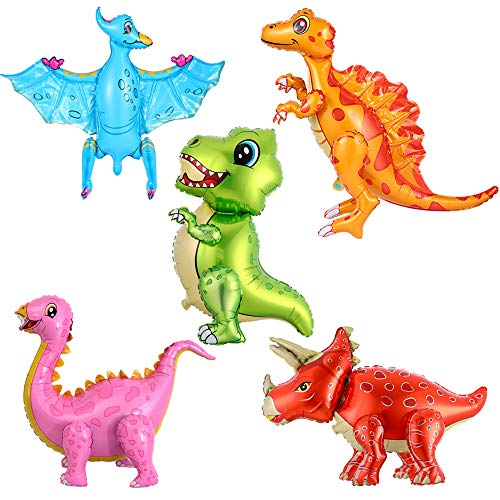 Haosell - Globos de dinosaurios 3D, 5 unidades, globos de helio, grandes dinosaurios, para niños, dinosaurios, temas de cumpleaños, baby shower, decoración