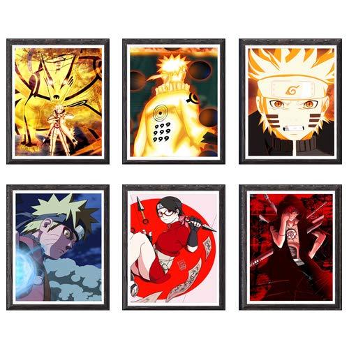Hokage X Ninja Manga Sarada Anime Manga Decoración de pared, 8 x 10 pulgadas, sin marco, juego de 6 piezas