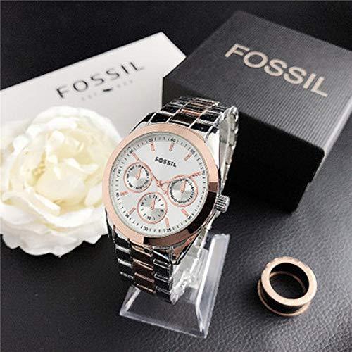 SANDA Relojes Hombre,Vestido de muñeca de Cuarzo Relojes de Mujer Pulsera de Plata Reloj de Mujer Reloj de Acero Inoxidable Reloj Casual para Mujer-con Caja