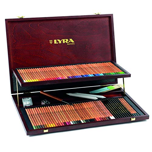 Lyra Rembrandt Polycolor, Holzkoffer mit 68 Polycolorstiften, div. Spezialstifte & Zubehör, farbig sortiert