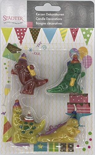 Städter 4 Minikerzen * Dinosaurier * für Party und Geburtstag // Kerzen Kuchen Torte Deko Candle Dino Dinos T-Rex