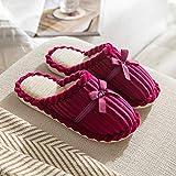 QPPQ Zapatillas de espuma viscoelástica, cálidas y antideslizantes, zapatillas de algodón de felpa para mujeres y hombres-roja_5.5-6, zapatillas de algodón al aire libre