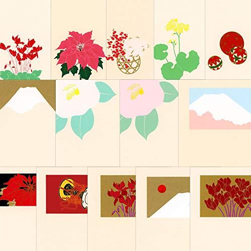 鳩居堂 冬のハガキ 14枚セット kyu-42 富士・ポインセチア・つわぶき・シクラメン・花籠・椿・手まり・鼓 シルクスクリーン印刷 きゅうきょどう ポストカード はがき