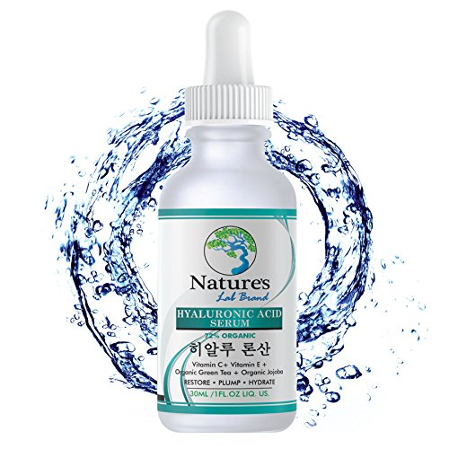 Organic Korean Beauty Hyaluronic Acid Serum for Face + Vitamin C Vitamin E - BEST Advanced Anti Aging formula Anti Wrinkle for whitening hydration all Natural Vegan Korean Skincare Natures Lab Brand