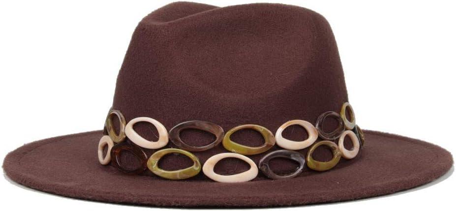 LHZUS Hats Handmade Women Punk Fedora Hat Gems Wide Brim Jazz Church Cap Winter Jazz Party Hats 2 Size (Color : Coffee, Size : 59-61cm)