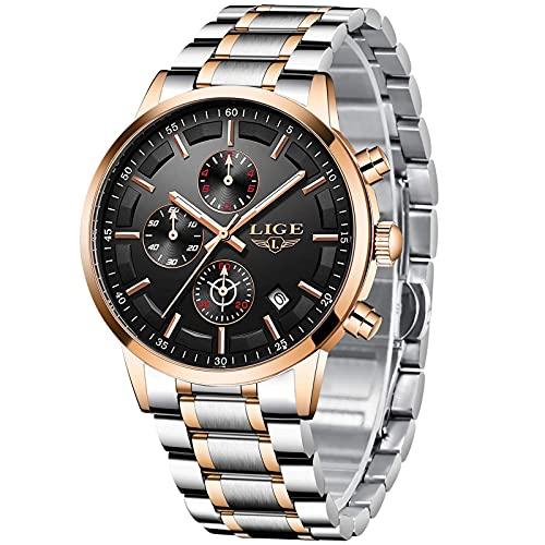 LIGE Relojes para Hombres Deportes Militares Reloj de Negocios de Acero Inoxidable a Prueba de Agua para Hombre con Fecha analógica de Cuarzo clásico Reloj (Plateado Y Dorado)