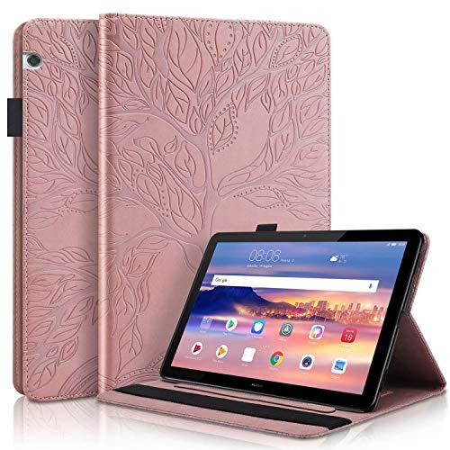TTNAO Funda Folio para Compatible con Huawei MediaPad T5 10.1 Inch Tablet 2018, Estuche Plegable Estuche Tipo Billetera Arbol Vida PU Ranura para Tarjetas Anticolisión-Oro Rosa