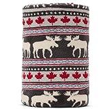 Baby Blanket Throw Xmas Moose Maple Leaf Pattern Grey Background Soft Lightweight Coral Fleece 250GSM 50 x 60