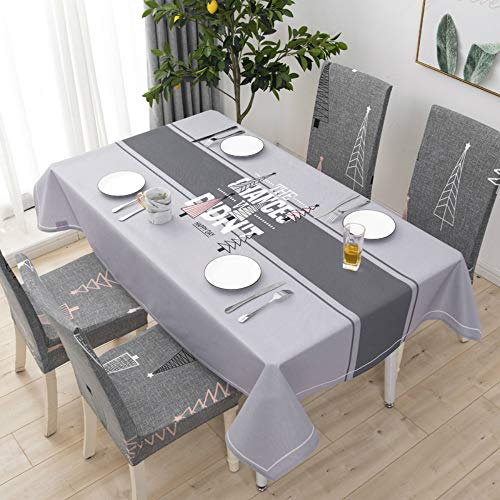 YOUYUANF Tablecloth rectangular oval linen disposable Cotton and linen small fresh waterproof rectangular table clothLight gray