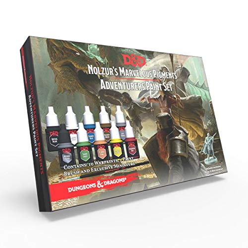 The Army Painter | Dungeons and Dragons Nolzur's Marvelous Pigment Adventurers-Paket | 10 Acrylfarben und 1 Einsteiger-Pinsel | Miniatur zum Bemalen | für Rollenspiele und Tabletop