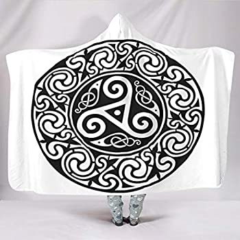 Festhad Black Ethnic Round Raven Totem Tribal Spiral Crow Tattoo Print Hooded Blankets Traditional Cuddly Warm Winter Plush Sherpa Hooded Throw Wrap for Women Men Kids Sleeping White 50x60 inch