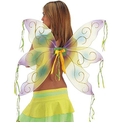 Ali farfalla in organza gialle e verdi fata folletto Trilly