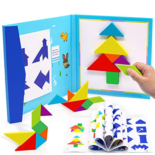 Conikus Wooden Pattern Tangram Magnetic Puzzle,Wooden Tangram Puzzle Book Toys for 3 4 5 6 7 8 Year Old Boys and Girls,Travel Games for Kids in Car, Plane or Take Out for Restaurant